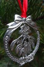 Pewter Spinning Mistletoe Christmas Hanging Decoration